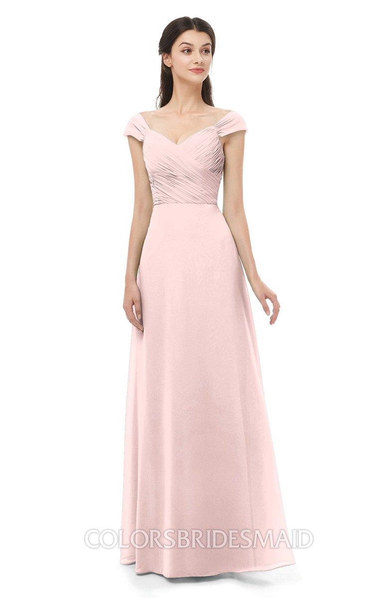 ffbd8516f7c ColsBM Aspen Pastel Pink Bridesmaid Dresses Off The Shoulder Elegant Short  Sleeve Floor Length A-
