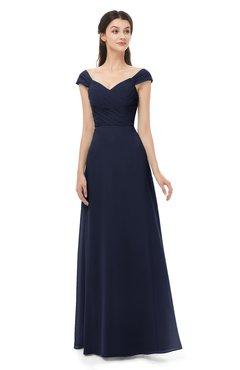 ColsBM Aspen Peacoat Bridesmaid Dresses Off The Shoulder Elegant Short Sleeve Floor Length A-line Ruching