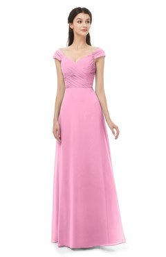 ColsBM Aspen Pink Bridesmaid Dresses Off The Shoulder Elegant Short Sleeve Floor Length A-line Ruching