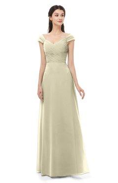 ColsBM Aspen Putty Bridesmaid Dresses Off The Shoulder Elegant Short Sleeve Floor Length A-line Ruching