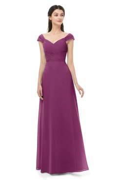 ColsBM Aspen Raspberry Bridesmaid Dresses Off The Shoulder Elegant Short Sleeve Floor Length A-line Ruching