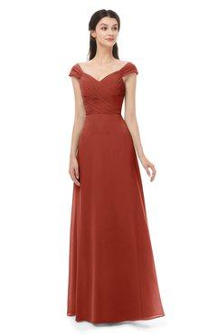 ColsBM Aspen Rust Bridesmaid Dresses Off The Shoulder Elegant Short Sleeve Floor Length A-line Ruching