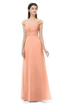 ColsBM Aspen Salmon Bridesmaid Dresses Off The Shoulder Elegant Short Sleeve Floor Length A-line Ruching