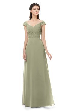 ColsBM Aspen Sponge Bridesmaid Dresses Off The Shoulder Elegant Short Sleeve Floor Length A-line Ruching