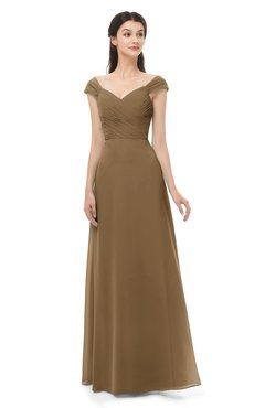 ColsBM Aspen Truffle Bridesmaid Dresses Off The Shoulder Elegant Short Sleeve Floor Length A-line Ruching