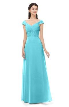 ColsBM Aspen Turquoise Bridesmaid Dresses Off The Shoulder Elegant Short Sleeve Floor Length A-line Ruching
