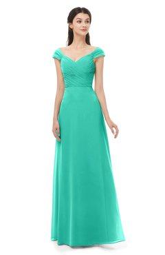 ColsBM Aspen Viridian Green Bridesmaid Dresses Off The Shoulder Elegant Short Sleeve Floor Length A-line Ruching