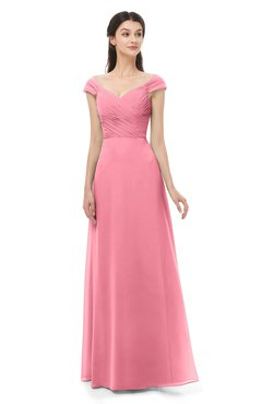 ColsBM Aspen Watermelon Bridesmaid Dresses Off The Shoulder Elegant Short Sleeve Floor Length A-line Ruching
