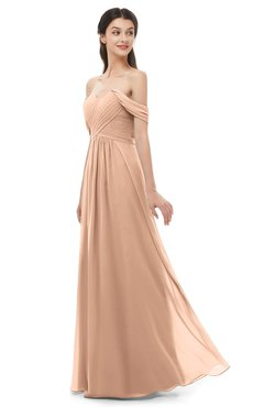 ColsBM Sylvia Almost Apricot Bridesmaid Dresses Mature Floor Length Sweetheart Ruching A-line Zip up