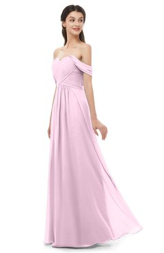 ColsBM Sylvia Baby Pink Bridesmaid Dresses Mature Floor Length Sweetheart Ruching A-line Zip up