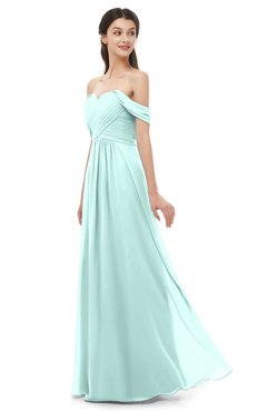 ColsBM Sylvia Blue Glass Bridesmaid Dresses Mature Floor Length Sweetheart Ruching A-line Zip up