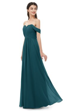 ColsBM Sylvia Blue Green Bridesmaid Dresses Mature Floor Length Sweetheart Ruching A-line Zip up