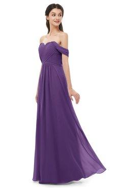 ColsBM Sylvia Dark Purple Bridesmaid Dresses Mature Floor Length Sweetheart Ruching A-line Zip up