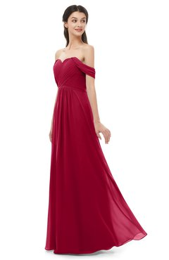 ColsBM Sylvia Dark Red Bridesmaid Dresses Mature Floor Length Sweetheart Ruching A-line Zip up