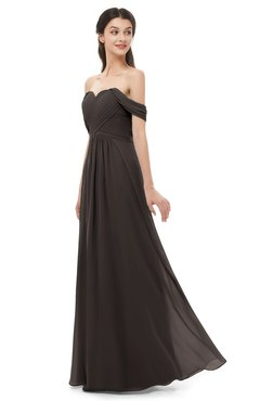 ColsBM Sylvia Fudge Brown Bridesmaid Dresses Mature Floor Length Sweetheart Ruching A-line Zip up