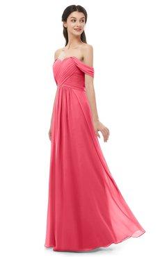 ColsBM Sylvia Guava Bridesmaid Dresses Mature Floor Length Sweetheart Ruching A-line Zip up
