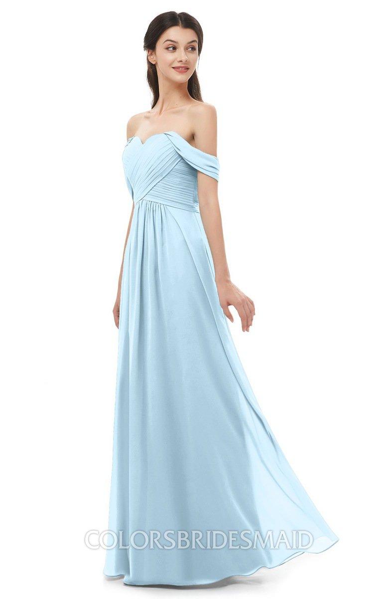 28970cbd645 ColsBM Sylvia Ice Blue Bridesmaid Dresses Mature Floor Length Sweetheart  Ruching A-line Zip up
