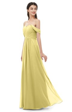 ColsBM Sylvia Misted Yellow Bridesmaid Dresses Mature Floor Length Sweetheart Ruching A-line Zip up