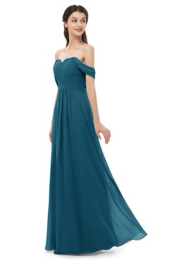 ColsBM Sylvia Moroccan Blue Bridesmaid Dresses Mature Floor Length Sweetheart Ruching A-line Zip up