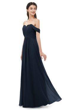 ColsBM Sylvia Navy Blue Bridesmaid Dresses Mature Floor Length Sweetheart Ruching A-line Zip up