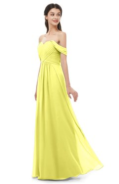 ColsBM Sylvia Pale Yellow Bridesmaid Dresses Mature Floor Length Sweetheart Ruching A-line Zip up