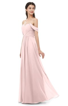 ColsBM Sylvia Pastel Pink Bridesmaid Dresses Mature Floor Length Sweetheart Ruching A-line Zip up