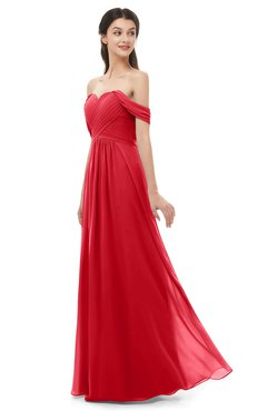 ColsBM Sylvia Red Bridesmaid Dresses Mature Floor Length Sweetheart Ruching A-line Zip up