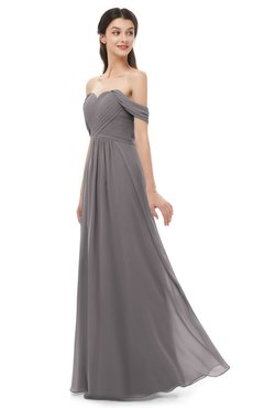ColsBM Sylvia Ridge Grey Bridesmaid Dresses Mature Floor Length Sweetheart Ruching A-line Zip up