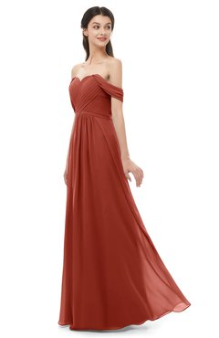 ColsBM Sylvia Rust Bridesmaid Dresses Mature Floor Length Sweetheart Ruching A-line Zip up