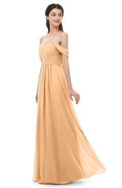 ColsBM Sylvia Salmon Buff Bridesmaid Dresses Mature Floor Length Sweetheart Ruching A-line Zip up