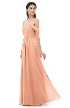 ColsBM Sylvia Salmon Bridesmaid Dresses Mature Floor Length Sweetheart Ruching A-line Zip up