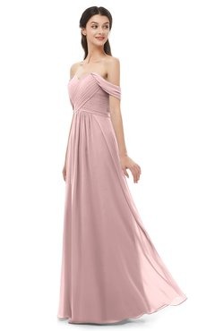 ColsBM Sylvia Silver Pink Bridesmaid Dresses Mature Floor Length Sweetheart Ruching A-line Zip up