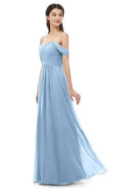 ColsBM Sylvia Sky Blue Bridesmaid Dresses Mature Floor Length Sweetheart Ruching A-line Zip up