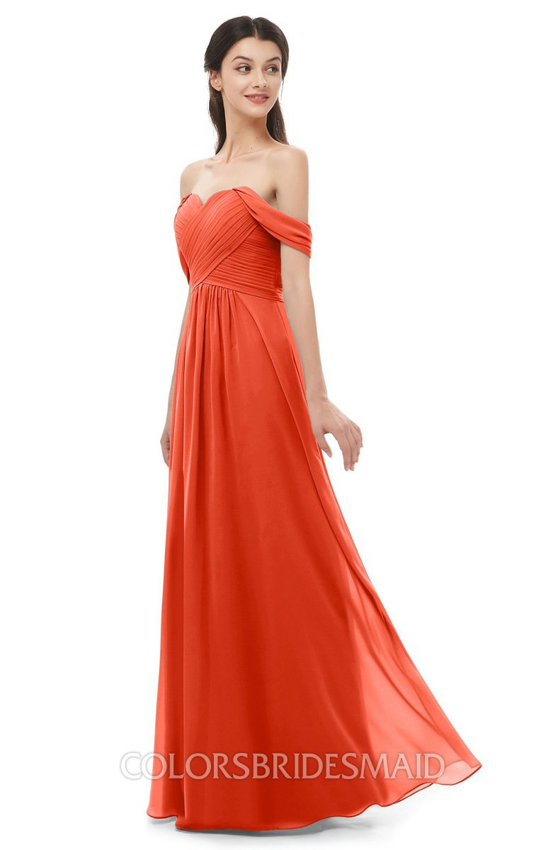 520ff6d80391 ColsBM Sylvia Tangerine Tango Bridesmaid Dresses Mature Floor Length  Sweetheart Ruching A-line Zip up