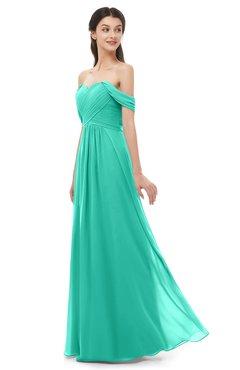 ColsBM Sylvia Viridian Green Bridesmaid Dresses Mature Floor Length Sweetheart Ruching A-line Zip up