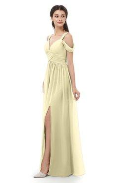 ColsBM Raven Anise Flower Bridesmaid Dresses Split-Front Modern Short Sleeve Floor Length Thick Straps A-line