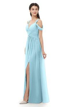 ColsBM Raven Aqua Bridesmaid Dresses Split-Front Modern Short Sleeve Floor Length Thick Straps A-line