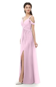 ColsBM Raven Baby Pink Bridesmaid Dresses Split-Front Modern Short Sleeve Floor Length Thick Straps A-line