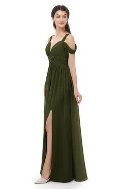 ColsBM Raven Beech Bridesmaid Dresses Split-Front Modern Short Sleeve Floor Length Thick Straps A-line