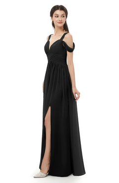 ColsBM Raven Black Bridesmaid Dresses Split-Front Modern Short Sleeve Floor Length Thick Straps A-line