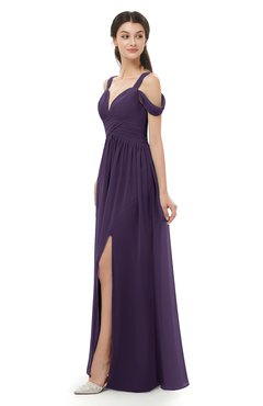 ColsBM Raven Blackberry Cordial Bridesmaid Dresses Split-Front Modern Short Sleeve Floor Length Thick Straps A-line