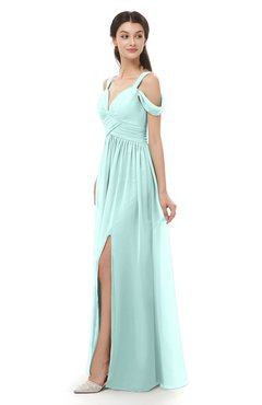 ColsBM Raven Blue Glass Bridesmaid Dresses Split-Front Modern Short Sleeve Floor Length Thick Straps A-line