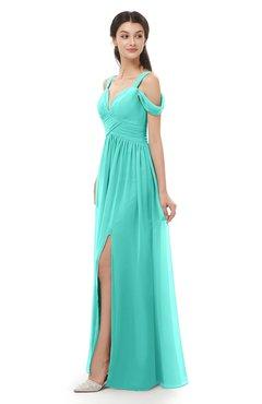 ColsBM Raven Blue Turquoise Bridesmaid Dresses Split-Front Modern Short Sleeve Floor Length Thick Straps A-line