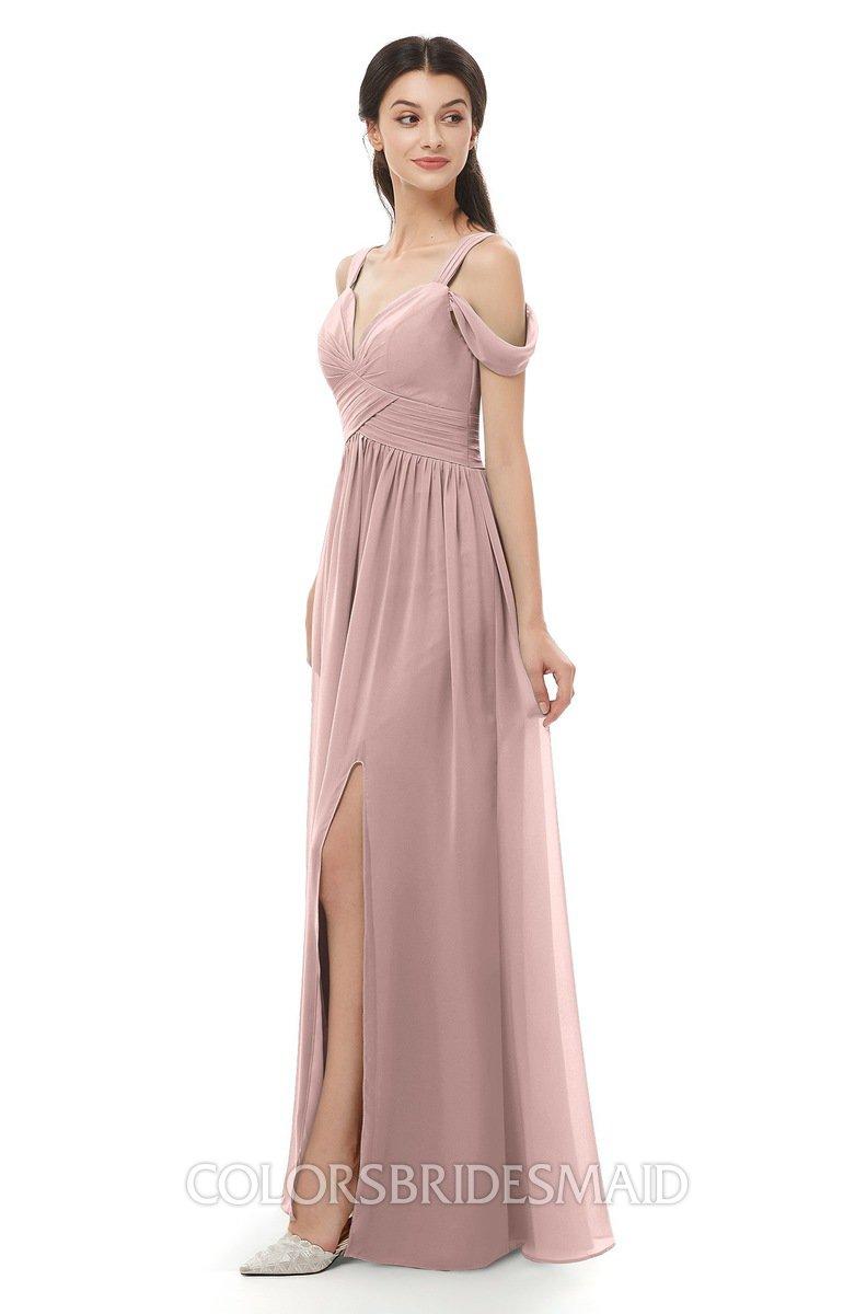 98aabf4047 ColsBM Raven Blush Pink Bridesmaid Dresses Split-Front Modern Short Sleeve  Floor Length Thick Straps