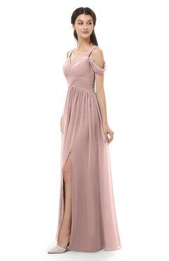 ColsBM Raven Blush Pink Bridesmaid Dresses Split-Front Modern Short Sleeve Floor Length Thick Straps A-line