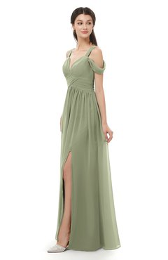 ColsBM Raven Bog Bridesmaid Dresses Split-Front Modern Short Sleeve Floor Length Thick Straps A-line