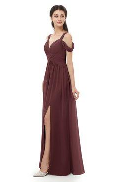 ColsBM Raven Burgundy Bridesmaid Dresses Split-Front Modern Short Sleeve Floor Length Thick Straps A-line