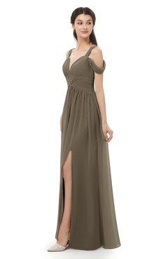 ColsBM Raven Carafe Brown Bridesmaid Dresses Split-Front Modern Short Sleeve Floor Length Thick Straps A-line
