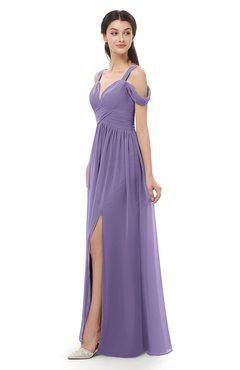 ColsBM Raven Chalk Violet Bridesmaid Dresses Split-Front Modern Short Sleeve Floor Length Thick Straps A-line