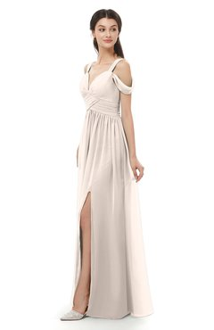 ColsBM Raven Cream Pink Bridesmaid Dresses Split-Front Modern Short Sleeve Floor Length Thick Straps A-line